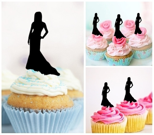 TA0111 Model Lady Party Dress Silhouette Party Wedding Birthday Acrylic Cupcake Toppers Decor 10 pcs