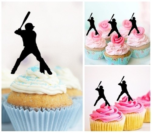 TA0141 Baseball Player Silhouette Party Wedding Birthday Acrylic Cupcake Toppers Decor 10 pcs