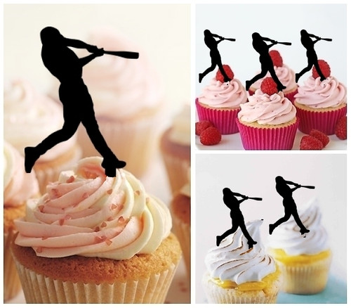 TA0142 Baseball Home Run Silhouette Party Wedding Birthday Acrylic Cupcake Toppers Decor 10 pcs