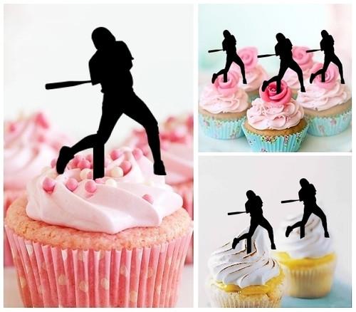 TA0143 Baseball Batter Silhouette Party Wedding Birthday Acrylic Cupcake Toppers Decor 10 pcs