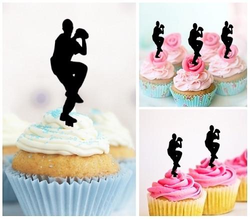 TA0144 Baseball Pitcher Silhouette Party Wedding Birthday Acrylic Cupcake Toppers Decor 10 pcs