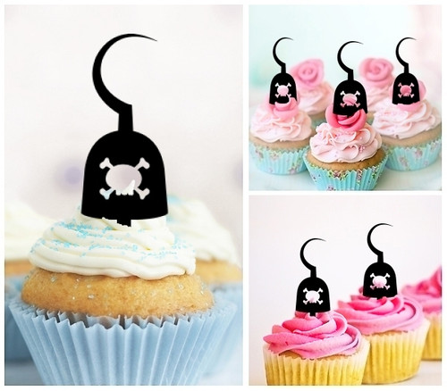 TA0154 Pirate Hook Arm Silhouette Party Wedding Birthday Acrylic Cupcake Toppers Decor 10 pcs