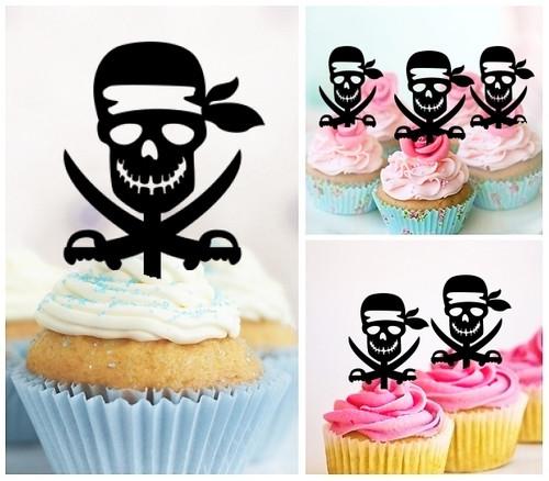 TA0155 Pirates Skull Silhouette Party Wedding Birthday Acrylic Cupcake Toppers Decor 10 pcs