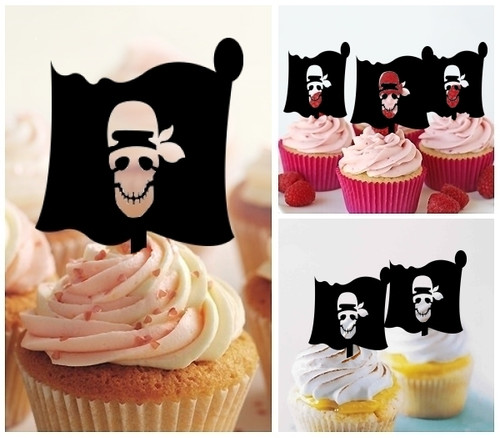 TA0156 Pirate Flag Silhouette Party Wedding Birthday Acrylic Cupcake Toppers Decor 10 pcs