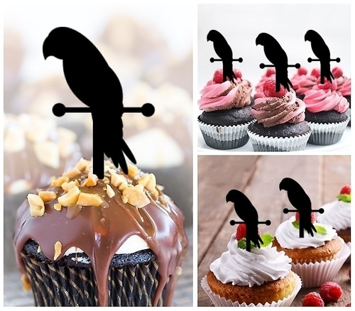 TA0157 Pirate Parrot Silhouette Party Wedding Birthday Acrylic Cupcake Toppers Decor 10 pcs
