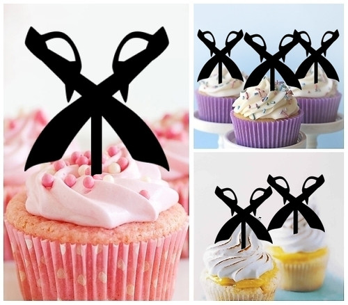 TA0159 Pirate Swords Silhouette Party Wedding Birthday Acrylic Cupcake Toppers Decor 10 pcs