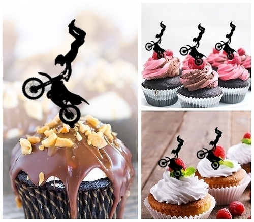 TA0197 Extreme Sport Freestyle Motocross Silhouette Party Wedding Birthday Acrylic Cupcake Toppers Decor 10 pcs