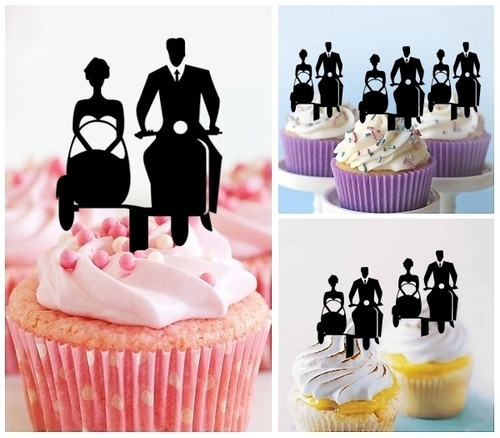 TA0219 Sidecar Wedding Couple Silhouette Party Wedding Birthday Acrylic Cupcake Toppers Decor 10 pcs