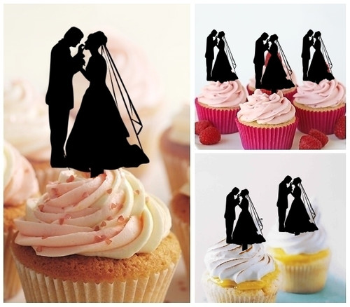 TA0230 Bride and Groom Wedding Silhouette Party Wedding Birthday Acrylic Cupcake Toppers Decor 10 pcs