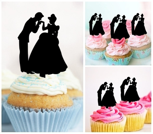 TA0235 Wedding Couple Sweet Kiss Silhouette Party Wedding Birthday Acrylic Cupcake Toppers Decor 10 pcs