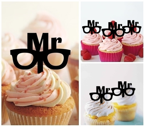 TA0242 Mr Wedding Silhouette Party Wedding Birthday Acrylic Cupcake Toppers Decor 10 pcs