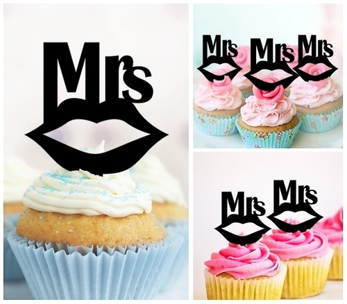 TA0245 Mrs Wedding Kiss Lip Silhouette Party Wedding Birthday Acrylic Cupcake Toppers Decor 10 pcs