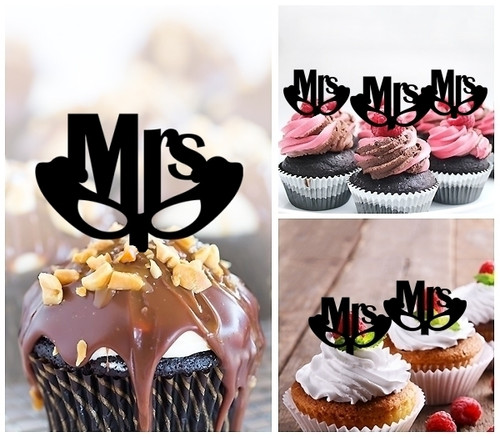 TA0247 Mrs Wedding Silhouette Party Wedding Birthday Acrylic Cupcake Toppers Decor 10 pcs