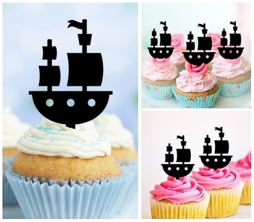 TA0268 Toy Ship Silhouette Party Wedding Birthday Acrylic Cupcake Toppers Decor 10 pcs