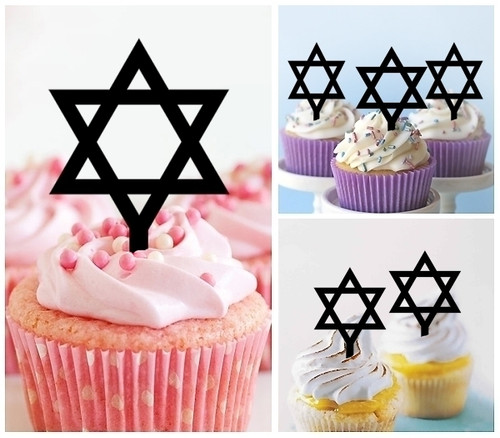 TA0289 Star of David Silhouette Party Wedding Birthday Acrylic Cupcake Toppers Decor 10 pcs