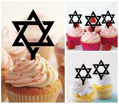TA0290 Star of David Silhouette Party Wedding Birthday Acrylic Cupcake Toppers Decor 10 pcs