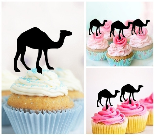 TA0321 Camel Silhouette Party Wedding Birthday Acrylic Cupcake Toppers Decor 10 pcs