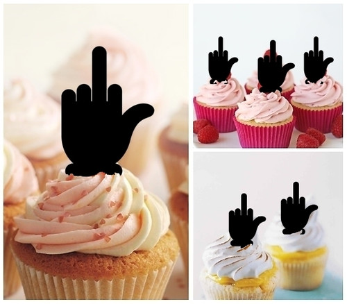 TA0370 Funny Middle Finger Silhouette Party Wedding Birthday Acrylic Cupcake Toppers Decor 10 pcs