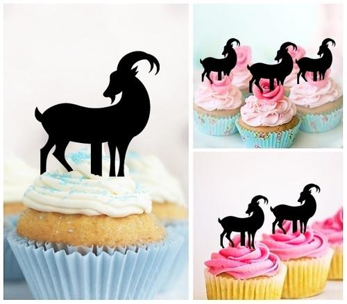 TA0374 Goat Silhouette Party Wedding Birthday Acrylic Cupcake Toppers Decor 10 pcs