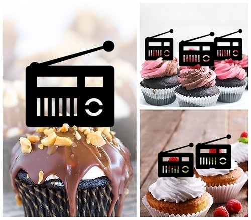 TA0397 Vintage Retro Radio Silhouette Party Wedding Birthday Acrylic Cupcake Toppers Decor 10 pcs