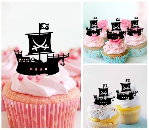 TA0403 Pirate Ship Silhouette Party Wedding Birthday Acrylic Cupcake Toppers Decor 10 pcs
