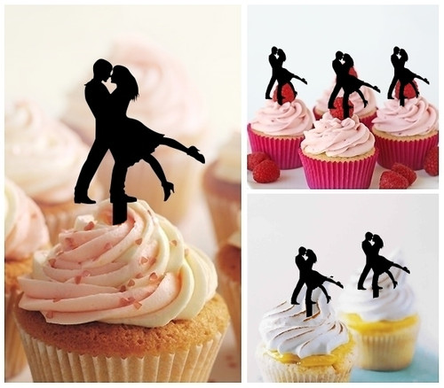 TA0410 Romantic Couple Wedding Silhouette Party Wedding Birthday Acrylic Cupcake Toppers Decor 10 pcs
