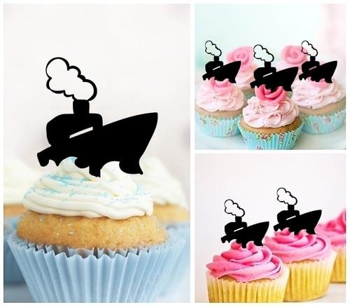 TA0414 Ocean Ship Sea Transport Silhouette Party Wedding Birthday Acrylic Cupcake Toppers Decor 10 pcs