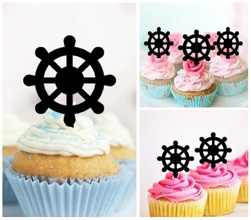 TA0415 Ship Wheel Silhouette Party Wedding Birthday Acrylic Cupcake Toppers Decor 10 pcs
