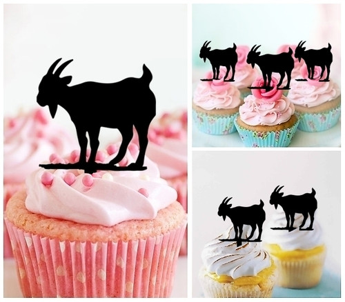 TA0473 Goat Silhouette Party Wedding Birthday Acrylic Cupcake Toppers Decor 10 pcs