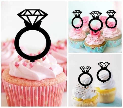 TA0493 Diamond Wedding Ring Silhouette Party Wedding Birthday Acrylic Cupcake Toppers Decor 10 pcs