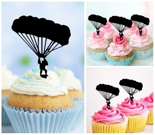 TA0498 Skydiving Silhouette Party Wedding Birthday Acrylic Cupcake Toppers Decor 10 pcs