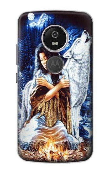 S0147 Grim Wolf Indian Girl Case For Motorola Moto E5 Plus