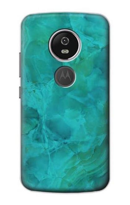 S3147 Aqua Marble Stone Case For Motorola Moto E5 Plus