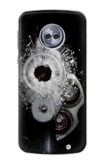 S2387 Gun Bullet Hole Glass Case For Motorola Moto G6 Plus