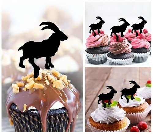 TA0517 Baby Goat Silhouette Party Wedding Birthday Acrylic Cupcake Toppers Decor 10 pcs