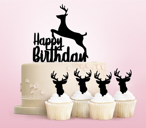 TC0029 Happy Birthday Reindeer Party Wedding Birthday Acrylic Cake Topper Cupcake Toppers Decor Set 11 pcs