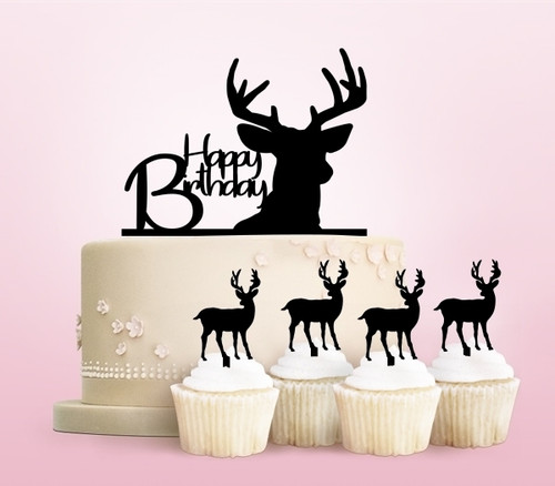 TC0037 Happy Birthday Deer Party Wedding Birthday Acrylic Cake Topper Cupcake Toppers Decor Set 11 pcs