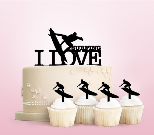 TC0042 I Love Surfing Party Wedding Birthday Acrylic Cake Topper Cupcake Toppers Decor Set 11 pcs