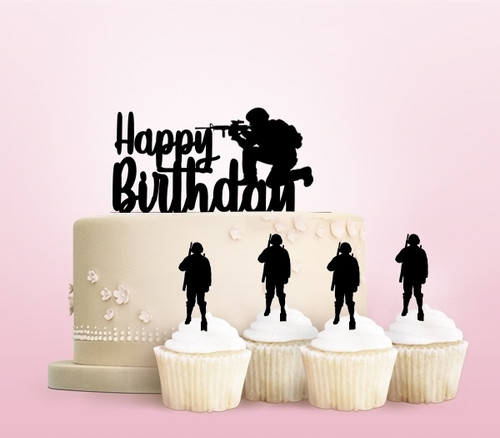 TC0052 Happy Birthday Party Wedding Birthday Acrylic Cake Topper Cupcake Toppers Decor Set 11 pcs