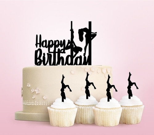 TC0063 Happy Birthday Sexy Pole Dance Girl Party Wedding Birthday Acrylic Cake Topper Cupcake Toppers Decor Set 11 pcs