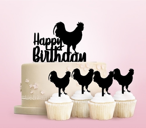 TC0072 Happy Birthday Rooster Party Wedding Birthday Acrylic Cake Topper Cupcake Toppers Decor Set 11 pcs