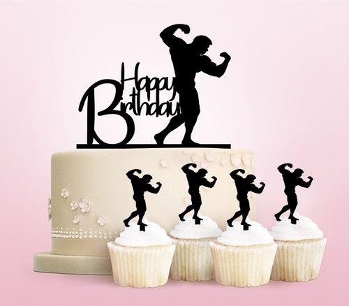 TC0079 Happy Birthday Bodybuilding Party Wedding Birthday Acrylic Cake Topper Cupcake Toppers Decor Set 11 pcs