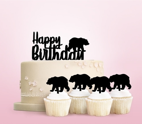 TC0083 Happy Birthday Polar Bear Party Wedding Birthday Acrylic Cake Topper Cupcake Toppers Decor Set 11 pcs