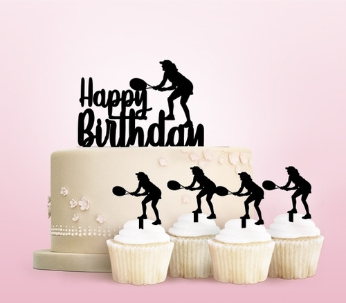 TC0092 Happy Birthday Tennis Party Wedding Birthday Acrylic Cake Topper Cupcake Toppers Decor Set 11 pcs