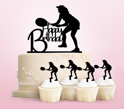 TC0099 Happy Birthday Tennis Party Wedding Birthday Acrylic Cake Topper Cupcake Toppers Decor Set 11 pcs