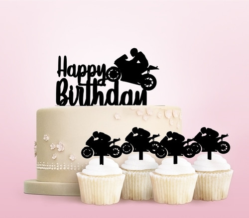 TC0103 Happy Birthday Motorcycle Racing Party Wedding Birthday Acrylic Cake Topper Cupcake Toppers Decor Set 11 pcs