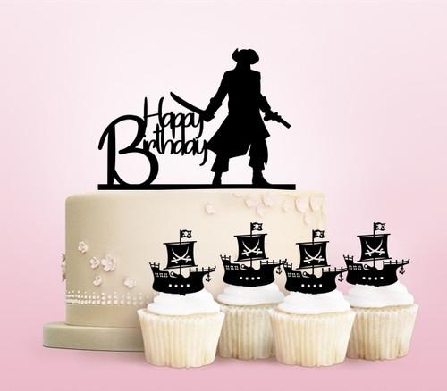TC0109 Happy Birthday Pirate Party Wedding Birthday Acrylic Cake Topper Cupcake Toppers Decor Set 11 pcs