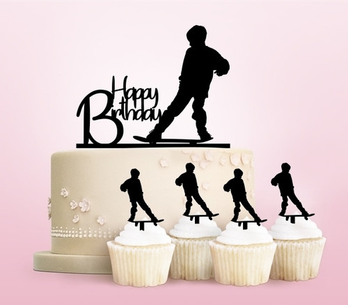 TC0118 Happy Birthday Skateboard Boy Party Wedding Birthday Acrylic Cake Topper Cupcake Toppers Decor Set 11 pcs