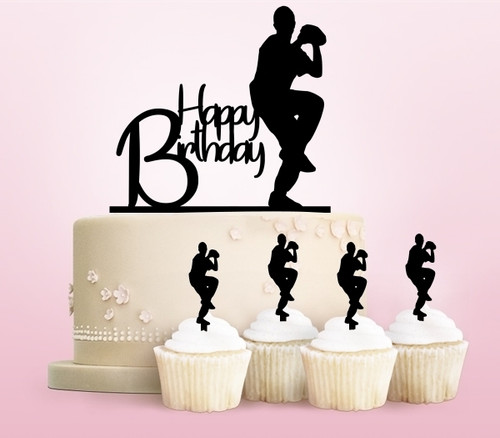 TC0129 Happy Birthday Baseball Party Wedding Birthday Acrylic Cake Topper Cupcake Toppers Decor Set 11 pcs