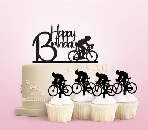 TC0140 Happy Birthday Bicycle Sport Party Wedding Birthday Acrylic Cake Topper Cupcake Toppers Decor Set 11 pcs